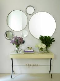 Round Mirrors Hallway With Round Mirrors And Modern Table Ways To Clean The