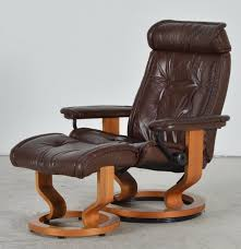 Brown Leather Chair With Ottoman Vintage Ekornes Stressless Brown Leather Recliner With Ottoman Ebth