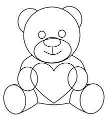 easy drawings teddy bears holding hearts
