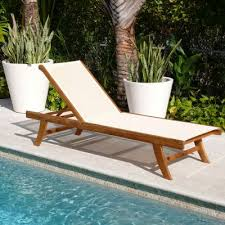 Teak Chaise Lounge Teak Outdoor Chaise Lounge With Ivory Mesh Sling Chaise Lounges