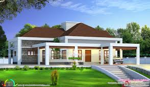stunning single floor house above road level kerala home design