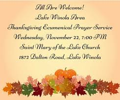 lake winola area thanksgiving ecumenical prayer service nativity