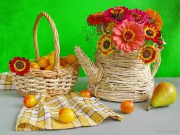 flowers and fruits flower apple flower nature fruit basket pear green flowers
