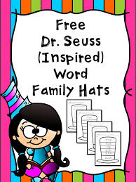 free dr seuss word family hats free homeschool deals
