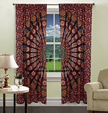 amazon com peacock mandala window curtains indian drape balcony
