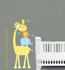 Giraffe Nursery Decor Removable Vinyl Wall Decal Elephant Giraffe Monkey Birds