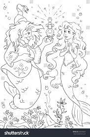 little mermaid sea coloring page stock illustration 568575667