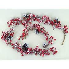 frosted berry and pine cone garland decorations