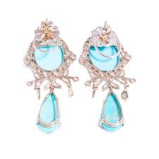 white gold chandelier earrings turquoise and diamond chandelier earrings in 18ct white gold