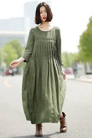 green linen dress casual pleated loose fitting comfortable long