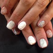 sculpted arylic nails with winter nail art chic nail styles