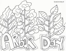arbor day coloring pages doodle art alley