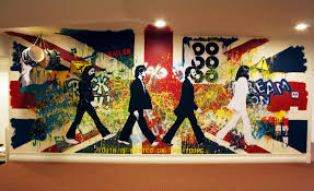 kathryn godwin visual artist graffiti wall mural behind the scenes the beatles union jack rock and roll painted wall mural