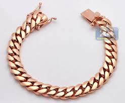 rose link bracelet images Buy hand made solid 14k rose gold miami cuban link mens bracelet jpg