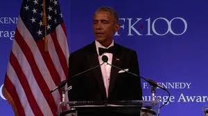 former president barack obama speaks after receiving 2017 jfk