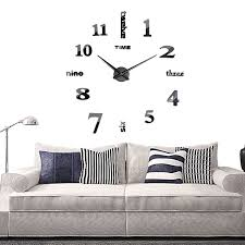 Home Decor Clocks Large Black Mirror Wall Clock 3d Hanging Clock Bracket Clock