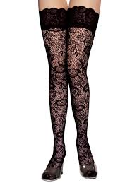 women large fishnet hollow lace top thigh high long socks