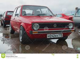red volkswagen golf red volkswagen golf the first generation on the retro car show in