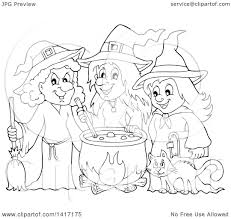 clipart of a black and white lineart group of halloween witches