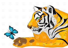 tiger and butterfly royalty free vector clip image 27187