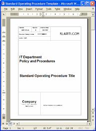 sop download standard operating procedures templates in ms word