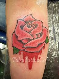 rev tattoo tulsa tattoo co old traditional rose color