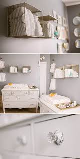 nursery wall storage with dowel rod and baskets baby changing