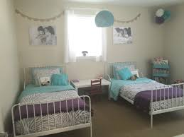 Teal And Grey Bedroom by Girls Shared Bedroom Ikea Minnen Beds Diy Yarn Lamp Diy