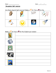recognising light sources by f8f1 teaching resources tes