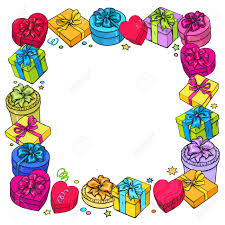 bows for cars presents frame of colorful sketch gift boxes with bows and ribbons