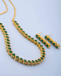green necklace set images Buy designer necklace sets green stones studded necklace set for jpg