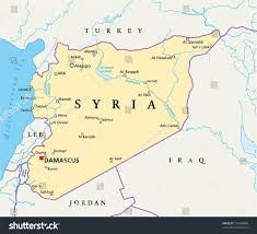 syria on map syria political map capital damascus national stock vector