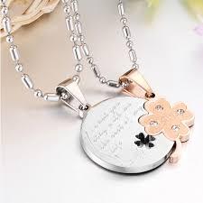 engravable necklace four leaf clover matching necklaces titanium steel necklace