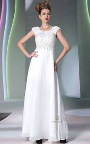 chiffon ruched white lace sleeves night dress for wedding party