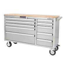 stainless steel workbench cabinets frontier 56 in 10 drawer mobile workbench tool chest cabinet with
