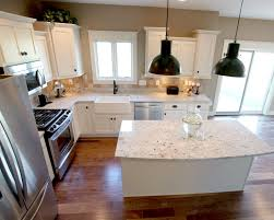 concrete countertops kitchen island with overhang lighting
