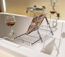 Bathtub Wine Bathtub Caddy Tray With Reading Book Rack Wine Glass Holder