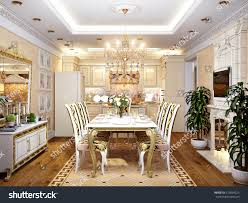 luxurious classic baroque kitchen dining room stock illustration
