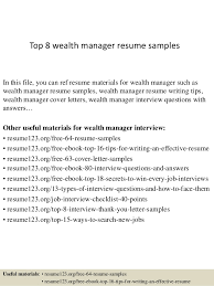 Manager Resume Objective Top 8 Wealth Manager Resume Samples 1 638 Jpg Cb U003d1428677091