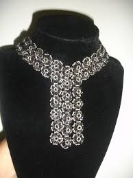 crystal lace necklace patterns images Handmade jewelry elegant black trio necklace part 1 of 2 jpg