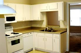 apartment small l shaped apartmentn with white cabinets