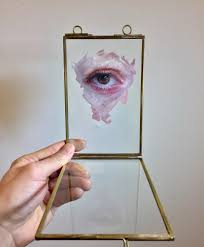 oil paintings of eyeouths on glass by henrik uldalen