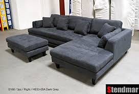 Microfiber Sectional Couch With Chaise 3pc New Modern Dark Grey Microfiber Sectional Sofa Chaise Ottoman