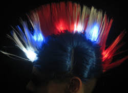 4th of july lightup mohawk hat wig w white blue leds