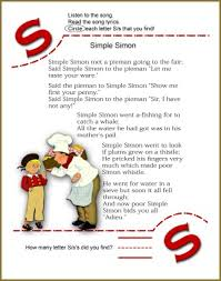 circle the letter s worksheet and simple simon nursery rhyme