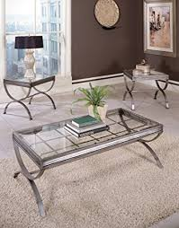 brushed nickel coffee table amazon com emerson set of 3 tables brushed nickel kitchen dining