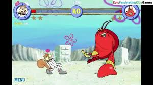 sandy cheeks vs larry the lobster in a spongebob squarepants reef