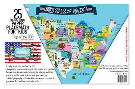 Blank Map Of Usa States by Amazon Com Usa Map Memory Game And Activity Paper Placemats