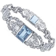 art deco aquamarine and diamond bracelet platinum diamond and