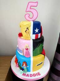 3 tier disney princesses and marvel superheroes birthday cake